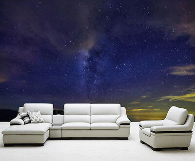 Stars Night Clouds Mountains Full Wall Mural Photo Wallpaper Print Home 3D Decal
