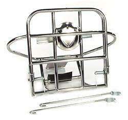 VESPA VBB Rear Fold Down Luggage Rack & 8 Inch Spare Wheel Carrier in Chrome