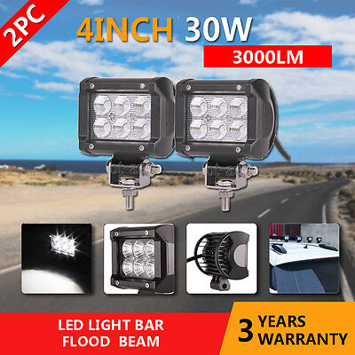 """2x 4""""inch 30W CREE LED Work Light Spot Offroad Motorcycle 4x4WD Lamp 12V"""