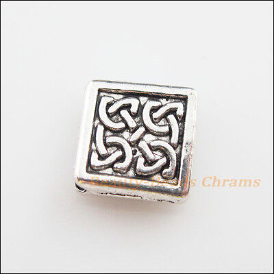 8 New Charms Tibetan Silver Tone Flower Square Spacer Beads 13mm