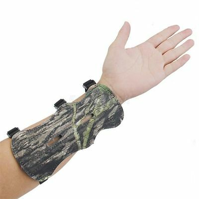 Camouflage Leather Shooting Archery Bow Forearm Arm Guard Protection 3 Straps J#