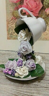 Christmas Floating Tea Cups.Christmas Gift Floating Tea Cup And Saucer Lilac Cream Flowers By Tia
