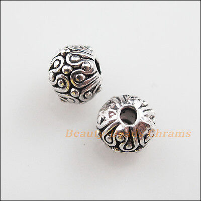 15 New Charms Tibetan Silver Tone Round Ball Flower Spacer Beads 6mm