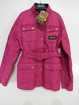 Girls Barbour International PolarQuilt Quilted Jacket Pink XL Age 12/13  GC5