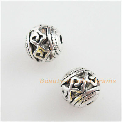 8 New Charms Tibetan Silver Tone Flower Round Ball Spacer Beads 8mm