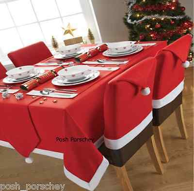 Set of Christmas Santa Hat Dinner Table Chair Covers / Runner / Cloth /Placemats