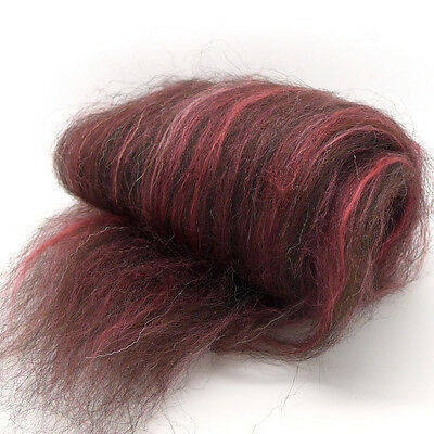 300g of JACOB, CRIMSON SILK & ALPACA combed wool fibre top blend for spinning