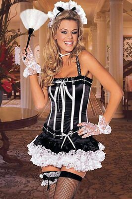 Sexy Adult Halloween Shirley of Hollywood Naughty Nanette French Maid Costume  sc 1 st  PicClick & SHIRLEY OF HOLLYWOOD Maid to Please Vinyl Open Bust Bra Set - $24.99 ...
