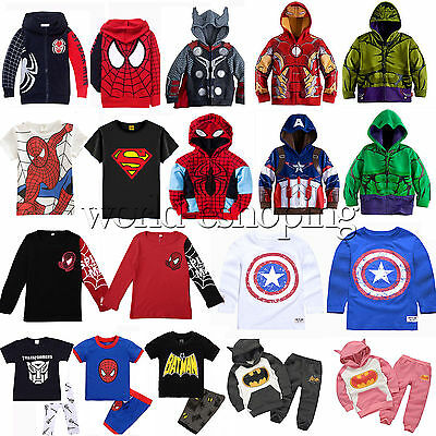 1-9Y Kids Boy Superhero Costume Hoodies Sweatshirt Jumper T-Shirt Top Outfit Set