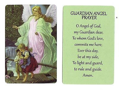 Guardian Angel Prayer w/ children on bridge (Lot of 2) Laminated catholic cards