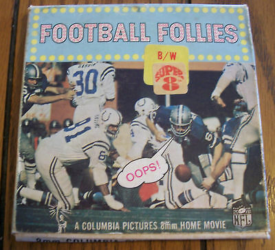 Vintage 8mm Football Follies Columbia Pictures NFL Super 8 Black and White Movie