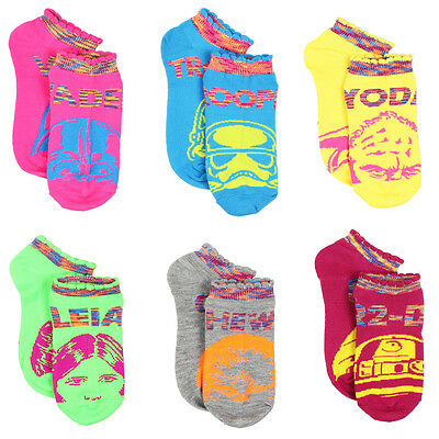 Star Wars Girls and Women's 6 pack Ankle Socks 4325YH 6/8 9/11 (Kids/Teen/Adult)