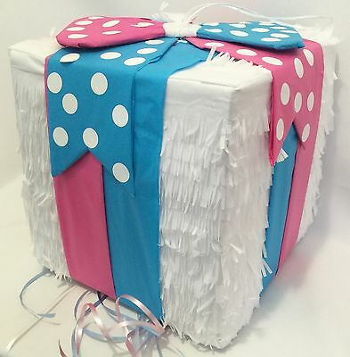 Gender Reveal Gift Box Pinata with Pull Strings