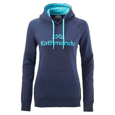 Kathmandu Womens Casual Hooded Pullover Longsleeve Hoodie Jumper Top v2 Blue