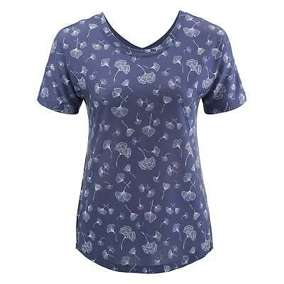 Kathmandu Adapt Womens Quick Dry Relaxed Fit Reversible T-shirt Top Blue Print