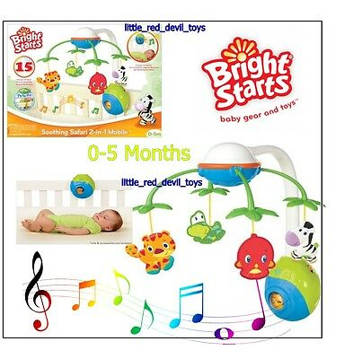 NEW Bright Starts 2-in-1 Soothing Safari Cot Mobile Musical Baby Toy Unisex