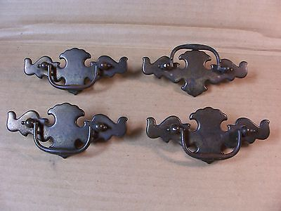 (4) Antique / Vintage Brass Finish Drawer Pulls / Handles -- Screws Included