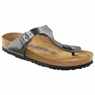 a9cdbea728eb CLEARANCE Birkenstock Leather GIZEH Metallic Anthracite SOFT FOOTBED