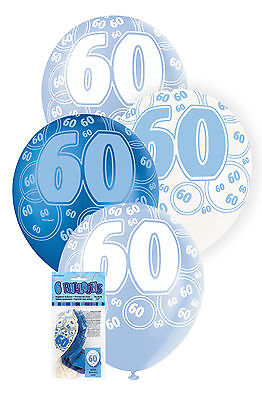 60th BIRTHDAY BALLOONS PK6 PARTY DECORATIONS BLUE AND WHITE LATEX