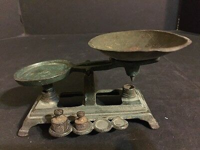 Vintage Miniature Scale Primitive Cast Iron, Tray 2 Weights, Salesman Sample Toy