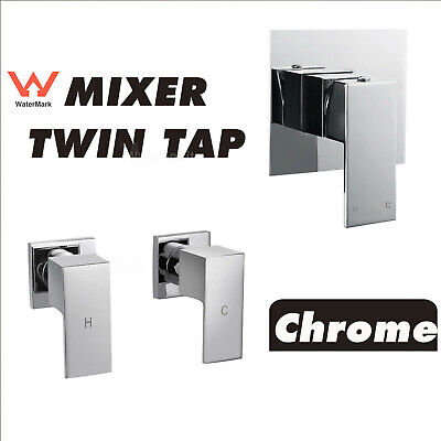 Chrome Square Wall Mixer Twin Hot Cold Tap  For Shower Head Bath Spout Watermark