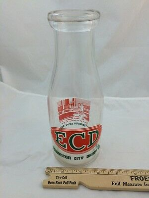 Vintage ECD EDMONTON CITY DAIRY CO. Milk Bottle Cream ALBERTA CANADA