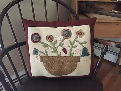 Large Hand Stitched Pure Wool Flower Pillow