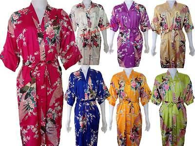 Ladies Silk Kimono. Dressing Gown Robe Bridesmaid Gown One Size fits regular.