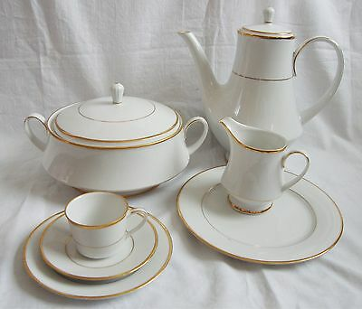 Noritake Heritage Dinner/Tea Wares Elegant Crisp White & Gold Rims - 2982