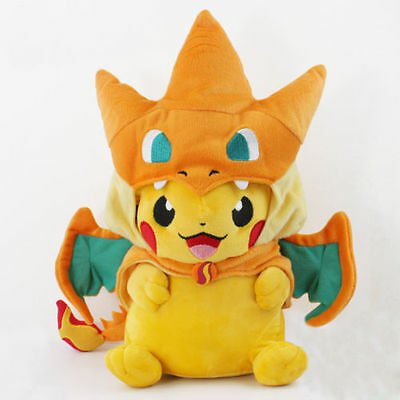 Pokemon Go Pikachu With Charizard hat Plush Soft Toy Stuffed Animal Doll 9'' #CP