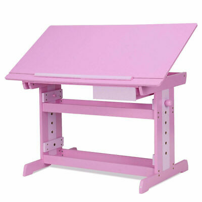 Adjustable Wooden Drafting Table Art & Craft Drawing Desk Hobby w/ Drawer Pink