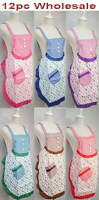 12pc Wholesale Bulk Lots Women Kitchen Apron with Pocket WaterProof Mixed Color