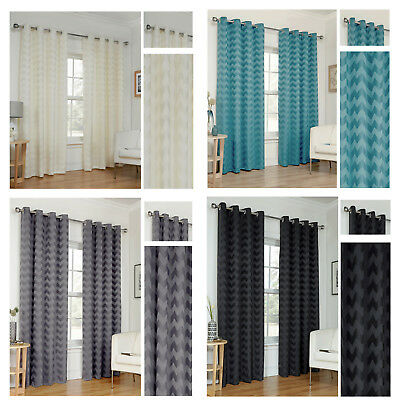Zig Zag Eyelet/Ring Top Lined Curtain Pairs By Hamilton McBride® - TO CLEAR