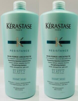 2 X NEW Bain Force Architecte 1000ML Kerastase + Free Pump