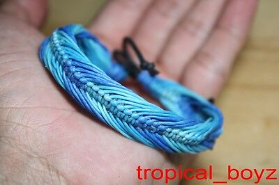 10 Blue Sea Water Tone Slip-Knotted Waxed Nylon Handmade Bracelets Wholesale