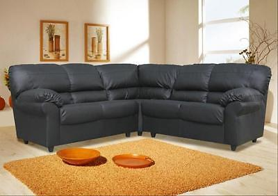 new candy corner L-shaped sofa, faux leather black, brown, armchair available