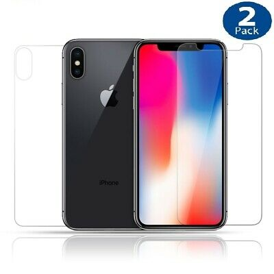 2x Apple iPhone X 8 7 6 6S Plus 5S SE Back Rear Tempered Glass Screen Protector