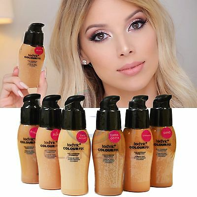 Technic Colour Fix Full Coverage Liquid Foundation All Shades MakeUp Quality