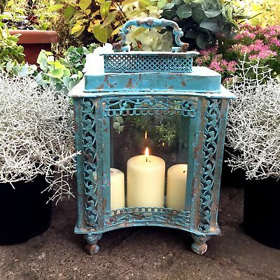 Antique French Vintage Style Large Garden Lantern Candle Holder Rustic Country