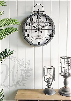 Metal Wire Front Wall Clock Vintage Industrial Roman Numeral Large Black Iron