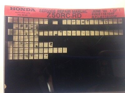 Honda Z50 RC-RD Factory Service manual on Microfiche.