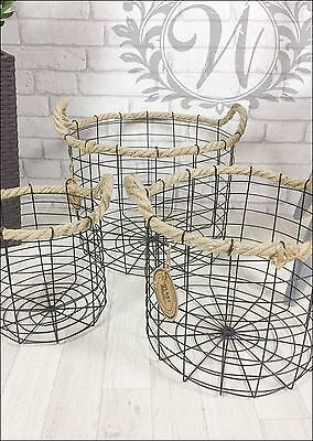 Retro Vintage Industrial Style Metal Storage Baskets Round Set Rope Handles Wire