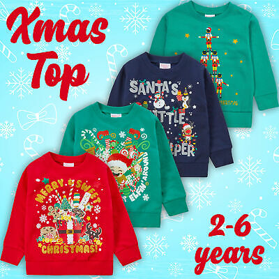 Kids Childrens Christmas Jumper Toddler Unisex Xmas Novelty Sweater Ages 2-6 UK
