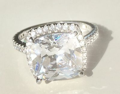 4.9ct 3 RING SET  Created Diamond Halo Engagement Ring Real Sterling Silver 925