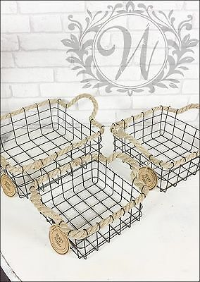 Retro Vintage Industrial Style Metal Storage Baskets Square Set Rope Handles