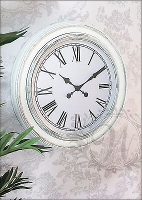 White Wall Clock Shabby Chic French Vintage Roman Numeral Large 60cm Antique
