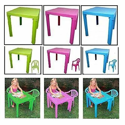 New Kids Play Set Table & Chairs Green Pink Blue Nursery Indoor Outdoor Plastic