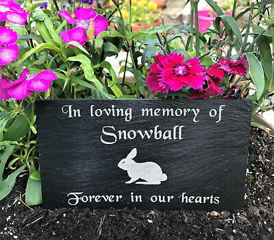 Personalised Engraved Slate Pet Memorial Grave Marker Plaque for a Rabbit 7 x 4""