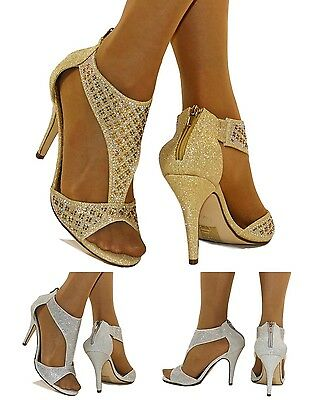 NEW Ladies Party Glittery Diamante Ankle Straps High Heel Shoes Sandals Size