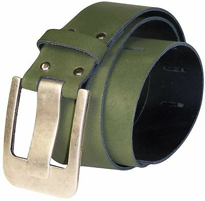 FRONHOFER Wide belt, real cowhide leather, wide buckle pin in silver
